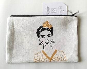 """Big  zipper pouch """"Golden Frida Kahlo"""" with two fabric, screen printed, malaysian fabric"""