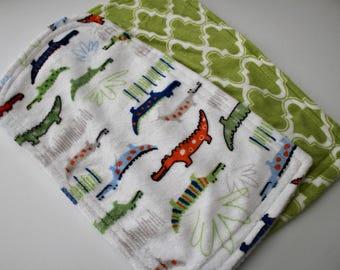 Later Gator and Moroccan Tile Minky Burp Cloths, Feeding, Nursing, Green, Orange, Blue, Alligators, Florida