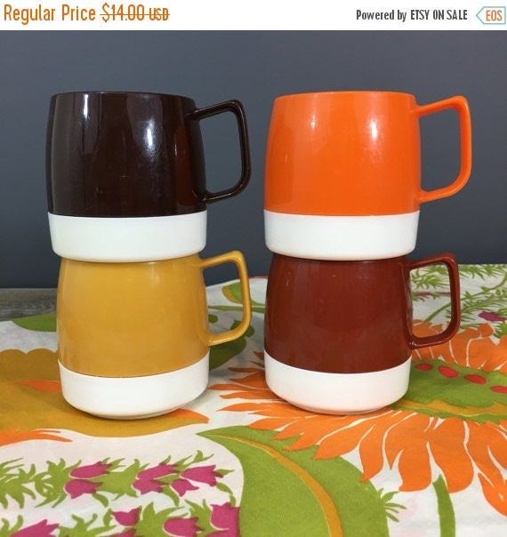 ON SALE Dinex Thermos Mugs, Set of FOUR Retro Plastic Stacking Mugs by Thermos, Retro 70s Drinkware