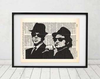 The Blues Brothers Silhouette Dictionary art print - Upcycled dictionary art - Book print page art  #081