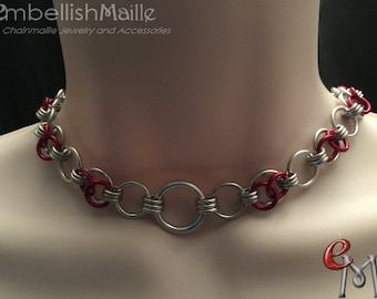 BDSM Discrete Collar, Submissive Collar, Slave Day Collar, chainmaille choker with O ring. Partly Cloudy Weave; 17 colors to choose from!