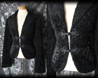 Goth Black Boucle Velvet WICKED WAYS Oriental Braid Jacket 12 14 Vintage 40s 50s
