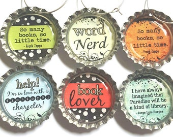 Book Wine Charms Book Lover Gift Love to Read Gift Librarian Gift Book Club Gift
