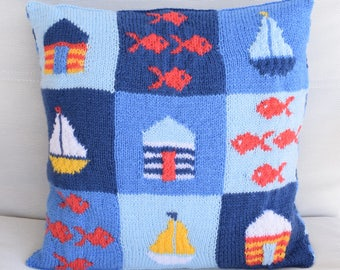 Knitting Pattern for a Seaside Cushion, Pillow Knitting Pattern with Seaside, Knitted Boats, Knitted Beach Huts, Knitted Fish, Pdf download