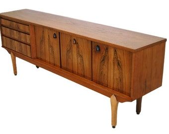 Rosewood And Teak Mid Century Modern Credenza, Media Console Or Storage Cabinet S572
