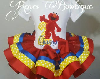 Red Monster Elmo Ribbon Tutu Set