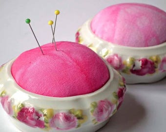 Pincushion, Upcycled China, Re-purposed Trinket Bowl, Pin Holder, Sewing Accessory, Hand-dyed Cotton Pin-Cushion, UK Seller