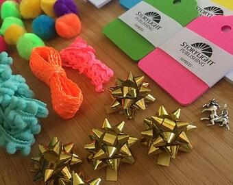 Unicorn Gift Tag Set / Neon Gift Tags / Gift Tag Bucket