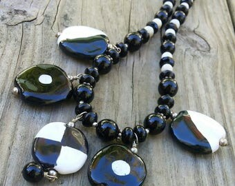 SALE!! Black and White Ceramic Beads Necklace