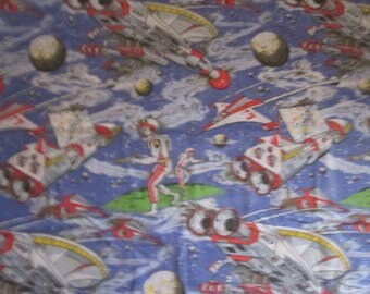 Boys Outer Space  Single Twin Duvet Cover And Matching Pillowcase, 90's Children's Bedding Or Project Fabric