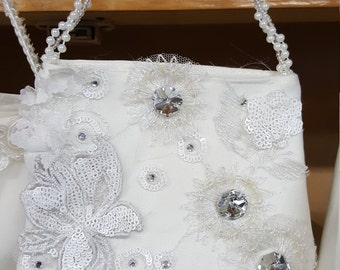 Purse handbag Lace white   Communion Sworovski Crystals flower girl wedding