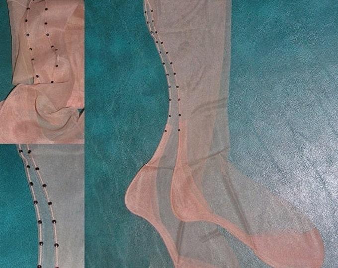 Vintage Fancy sheer 15 denier RED rhinestone seamed nylon stockings rockabilly 9