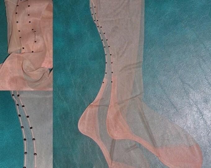 Vintage Fancy sheer 15 denier RED rhinestone seamed nylon stockings rockabilly 8 1/2
