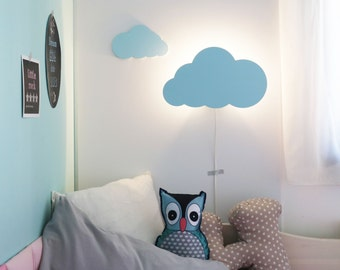 Kids lamp etsy cloud night light pastel blue cloud shaped led wall lampnursery childrens aloadofball Image collections
