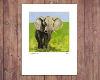 Elephant Print from Original Painting, Zoo Art Decor, Matted to fit 11x14 Frame