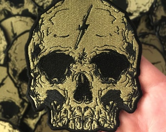 Embroidered Gold Lightning Skull Patch