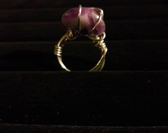 Purple Turquoise wire wrap women's or girl's ring