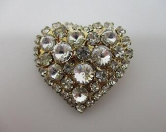 Gold Tone Rhinestone Embezzled Heart Brooch Pin