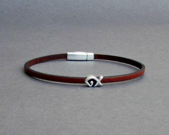 Fish Bracelet Mens Tiny Leather Bracelet Silver Dainty Bracelet Boyfriend Gift Customized On Your Wrist width 3mm