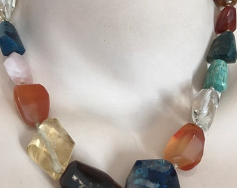 Vintage semi precious multi hard stone necklace