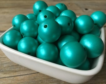 20mm Matte Pearl Cyan Chunky Bead, Blue Green Bubblegum Bead, Acrylic Bead, DIY Chunky Necklace, 10 Count, Resin Bead