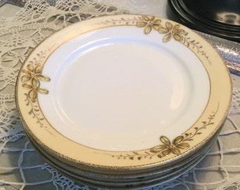 Vintage Nippon Plates-Salad Plates-Gold Set of Four (4) Floral Raised Detail Edges Replacement China-Wedding Gifts-Dessert Sets