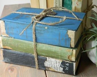 Old Book Bundle, 3 Decorative Books, Vintage Book Set, Old Book Decor