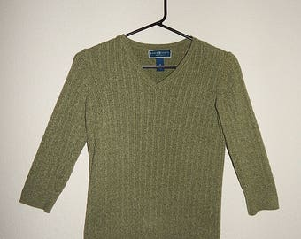 "Karen Scott 32"" Bust Womens Small Petite Green Heather Cable Knit Pullover Sweater"