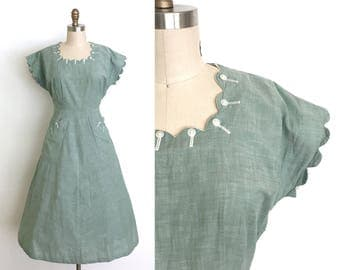 RESERVED vintage 1940s dress | 40s cotton day dress with scalloping and button details
