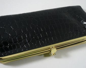 Braciano Black Faux Crocodile Clutch Wallet Leopard Interior Magnetic Closure