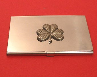 Shamrock Chrome Card Holder With Hand Cast Pewter St Patrick's Day Irish Good Luck Christmas gift