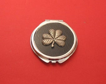 Shamrock Pewter Motif On Black Round Compact Mirror St Patrick's Day Irish Good Luck Gift Christmas Gift