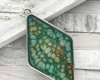 Custom painted pendant, Large diamond shaped orange and turquoise painted pendant