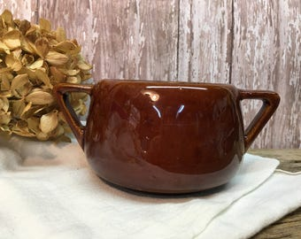 Vintage West Bend Stoneware Crock/Brown/Handled/Farmhouse Dishes