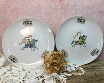 Vintage Lefton China Plates/Carousel/Boy/Girl/#3396/Wall Plates/Collectible