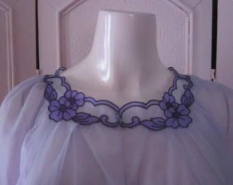 "1950s Sheer Lavender Nylon Nightgown by ""Gotham Lingerie,"" Size S"