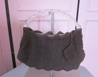 1940s Dark Brown Cord Crochet Handbag