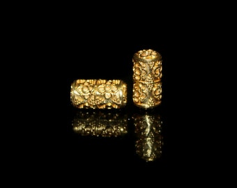 Two 16mm 22 carat Gold Vermeil Tube Beads, Two 16mm x 8mm Gold Vermeil Wire Work and GranulationTube Beads