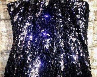 Tote bag sequins blue / black