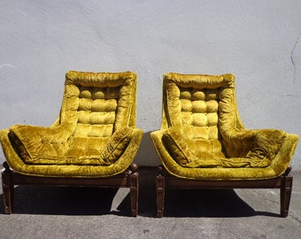 Pair of Chairs Lounge Armchair Mid Century Modern MCM Adrian Pearsall Accent Hollywood Regency Vintage Seating Tufted Retro Living Room Boho
