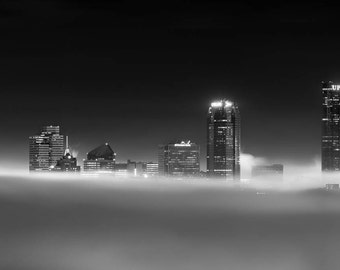 Chasing the Cloud City, Black and White Pittsburgh Fog Night Photo, Matted or Metal Print, Skyline Clouds Photograph Picture Art