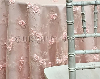 Baby Rose Embroidery Tablecloth in Blush - Ideal for Weddings & Bridal Events