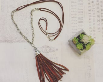 Brown Leather and Chain Tassel Necklace
