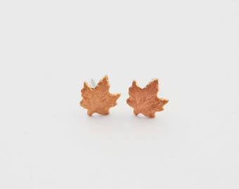 Maple Leaf Studs, Maple Leaf Earrings, Maple Leaf Stud Earrings, Canada Earrings, Autumn Earrings, Tiny Leaf Earrings, Canada Maple Leaf