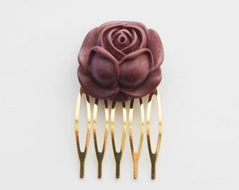Gold Rose Bride Hair Clip, Bridal Hair Comb, Purple Rose Hair Clip, Gold Flower Hair Clip, Wedding Hair Piece, Eggplant Rose Hair Clip