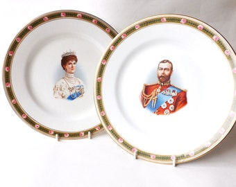 A Pair George V 5th 1911 Coronation Plates, Antique King of England Souvenir, British Royal Family, Royalty, Queen Mary, Collectors Plate