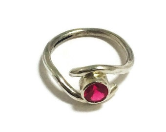 Handmade Silver  Ring - Fuchsia Glass Stone and Silver Ring