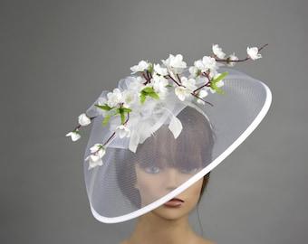 White Wedding Head Piece Kentucky Derby Hat Fascinator Wedding Accessory Bridal Hat Wedding Accessory