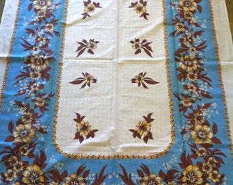 Vintage Blue border print NOS tablecloth
