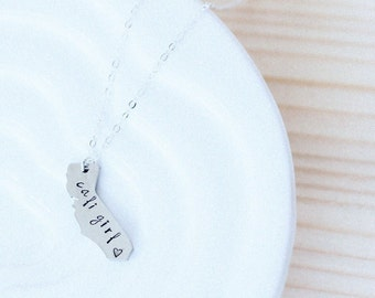CALIFORNIA NECKLACE Long Distance Relationship Stainless Steel State Necklace-CA girl